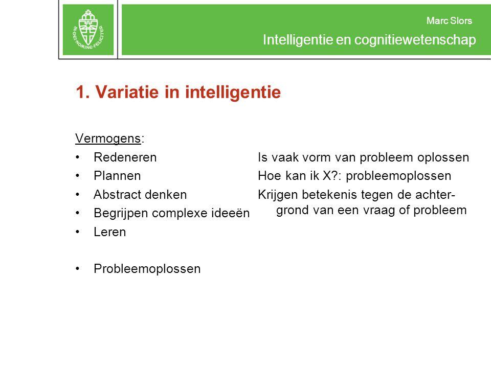 Marc Slors Intelligentie en cognitiewetenschap 1. Variatie in intelligentie Vermogens: Redeneren Plannen Abstract denken Begrijpen complexe ideeën Ler