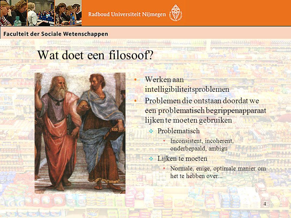 5 Het lot van de filosoof Een filosoof is pas nodig op het moment dat een begrippenapparaat: v problematisch is m.b.t.
