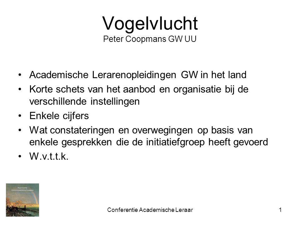 Conferentie Academische Leraar1 Vogelvlucht Peter Coopmans GW UU Academische Lerarenopleidingen GW in het land Korte schets van het aanbod en organisa