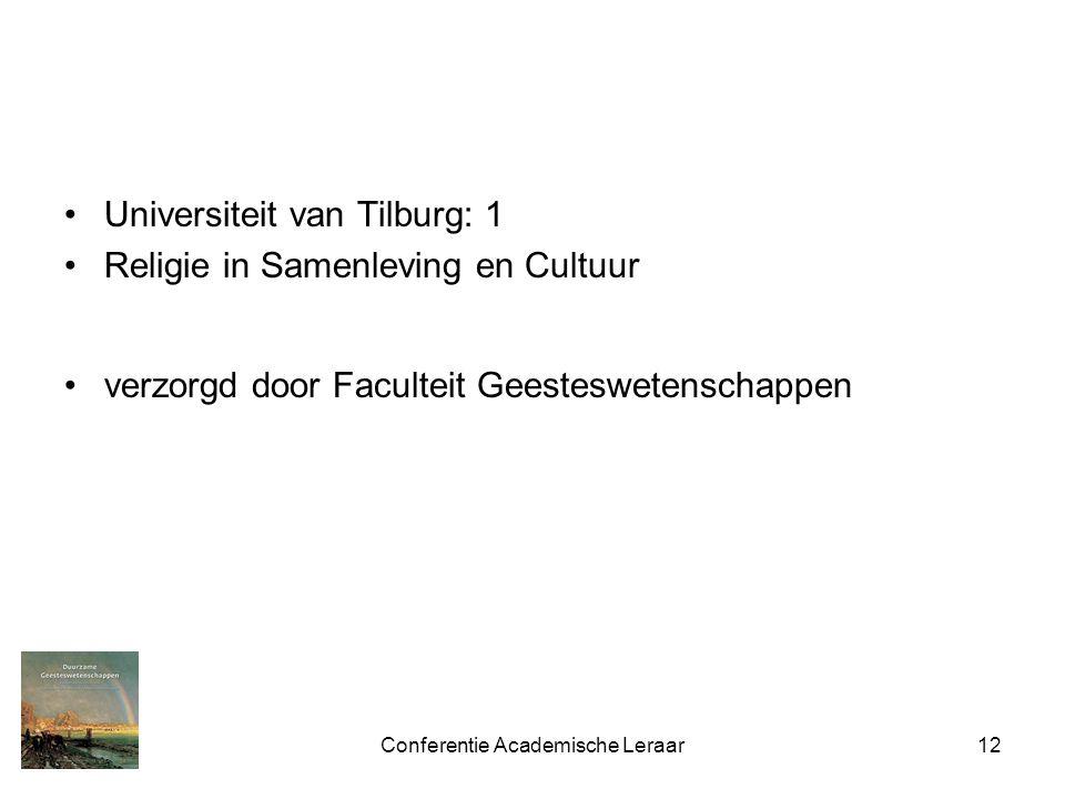 Conferentie Academische Leraar12 Universiteit van Tilburg: 1 Religie in Samenleving en Cultuur verzorgd door Faculteit Geesteswetenschappen