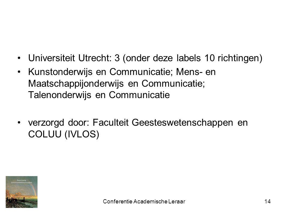 Conferentie Academische Leraar14 Universiteit Utrecht: 3 (onder deze labels 10 richtingen) Kunstonderwijs en Communicatie; Mens- en Maatschappijonderwijs en Communicatie; Talenonderwijs en Communicatie verzorgd door: Faculteit Geesteswetenschappen en COLUU (IVLOS)