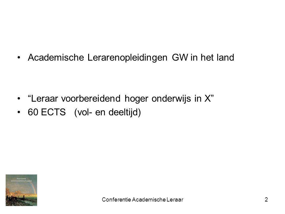 Conferentie Academische Leraar2 Academische Lerarenopleidingen GW in het land Leraar voorbereidend hoger onderwijs in X 60 ECTS(vol- en deeltijd)