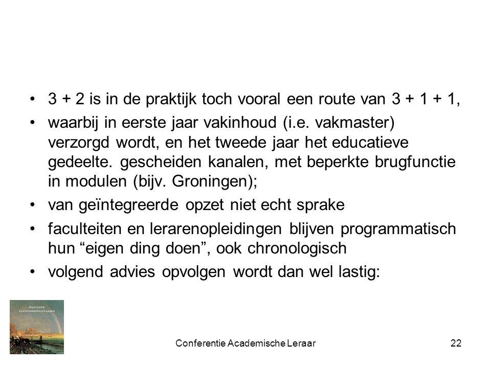 Conferentie Academische Leraar22 3 + 2 is in de praktijk toch vooral een route van 3 + 1 + 1, waarbij in eerste jaar vakinhoud (i.e.