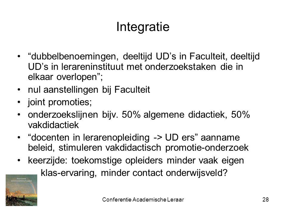 Conferentie Academische Leraar28 Integratie dubbelbenoemingen, deeltijd UD's in Faculteit, deeltijd UD's in lerareninstituut met onderzoekstaken die in elkaar overlopen ; nul aanstellingen bij Faculteit joint promoties; onderzoekslijnen bijv.