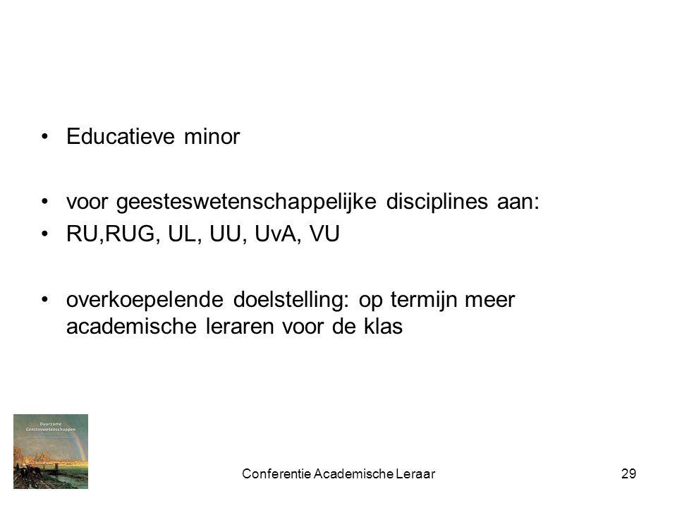Conferentie Academische Leraar29 Educatieve minor voor geesteswetenschappelijke disciplines aan: RU,RUG, UL, UU, UvA, VU overkoepelende doelstelling: