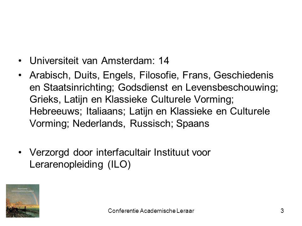 Conferentie Academische Leraar3 Universiteit van Amsterdam: 14 Arabisch, Duits, Engels, Filosofie, Frans, Geschiedenis en Staatsinrichting; Godsdienst