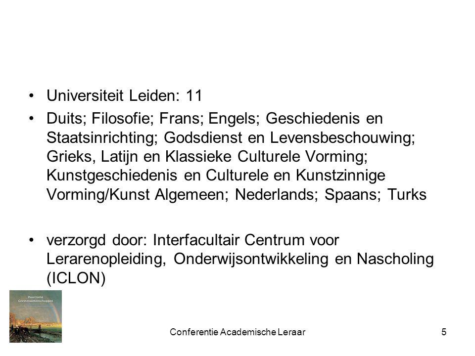 Conferentie Academische Leraar5 Universiteit Leiden: 11 Duits; Filosofie; Frans; Engels; Geschiedenis en Staatsinrichting; Godsdienst en Levensbeschou