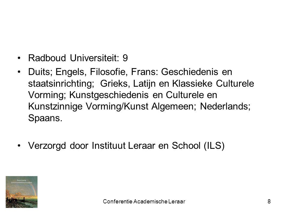Conferentie Academische Leraar8 Radboud Universiteit: 9 Duits; Engels, Filosofie, Frans: Geschiedenis en staatsinrichting; Grieks, Latijn en Klassieke