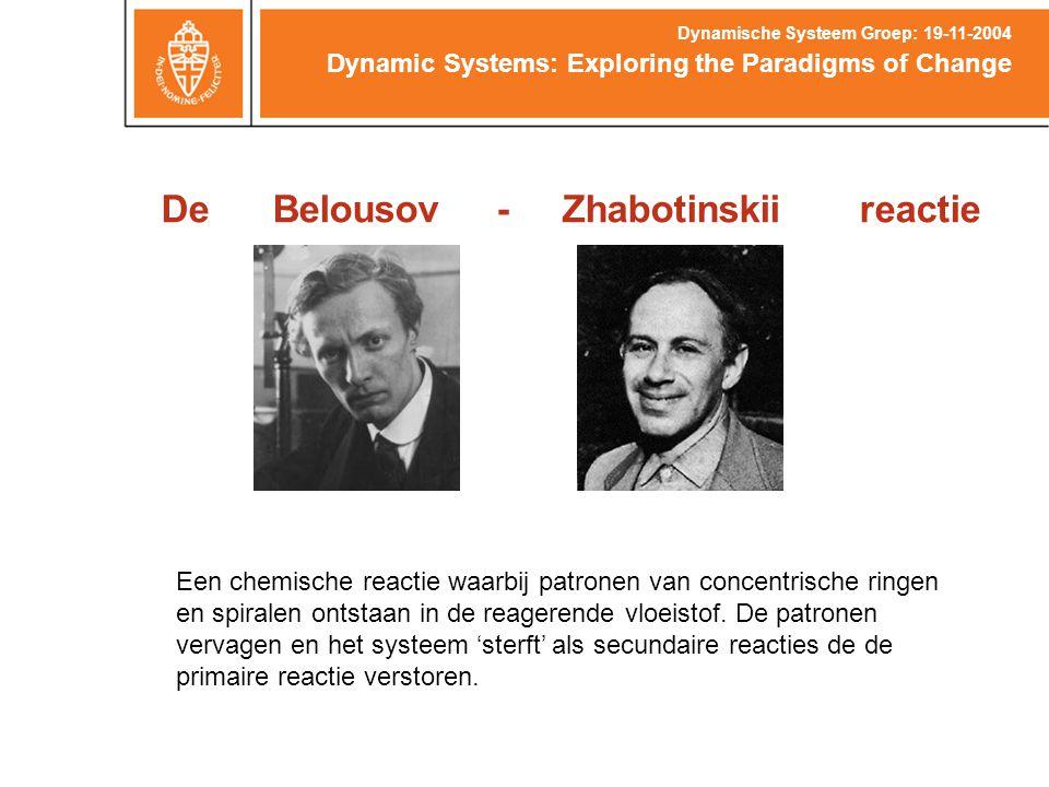 De Belousov - Zhabotinskii reactie Dynamic Systems: Exploring the Paradigms of Change Dynamische Systeem Groep: 19-11-2004 Een chemische reactie waarbij patronen van concentrische ringen en spiralen ontstaan in de reagerende vloeistof.