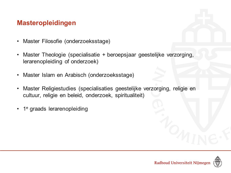Masteropleidingen Master Filosofie (onderzoeksstage) Master Theologie (specialisatie + beroepsjaar geestelijke verzorging, lerarenopleiding of onderzo