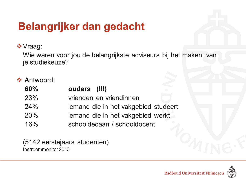 Belangrijker dan gedacht  Vraag: Wie waren voor jou de belangrijkste adviseurs bij het maken van je studiekeuze?  Antwoord: 60%ouders (!!!) 23%vrien