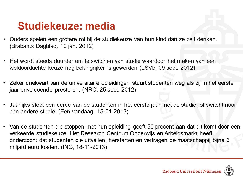 Studiekeuze: media Ouders spelen een grotere rol bij de studiekeuze van hun kind dan ze zelf denken. (Brabants Dagblad, 10 jan. 2012) Het wordt steeds