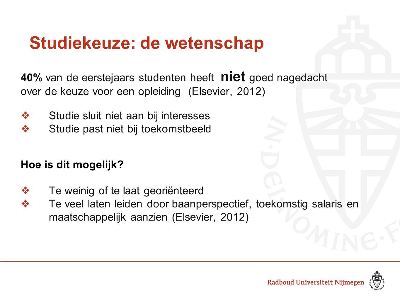 Studiekeuze: de wetenschap 40% van de eerstejaars studenten heeft niet goed nagedacht over de keuze voor een opleiding (Elsevier, 2012)  Studie sluit