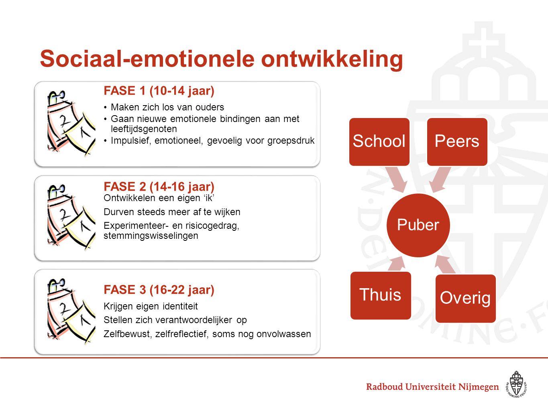 Sociaal-emotionele ontwikkeling FASE 1 (10-14 jaar) Maken zich los van ouders Gaan nieuwe emotionele bindingen aan met leeftijdsgenoten Impulsief, emo