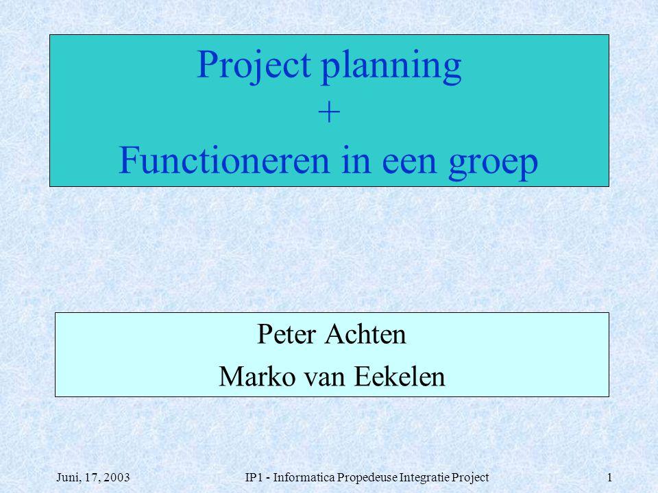 Juni, 17, 2003IP1 - Informatica Propedeuse Integratie Project1 Project planning + Functioneren in een groep Peter Achten Marko van Eekelen