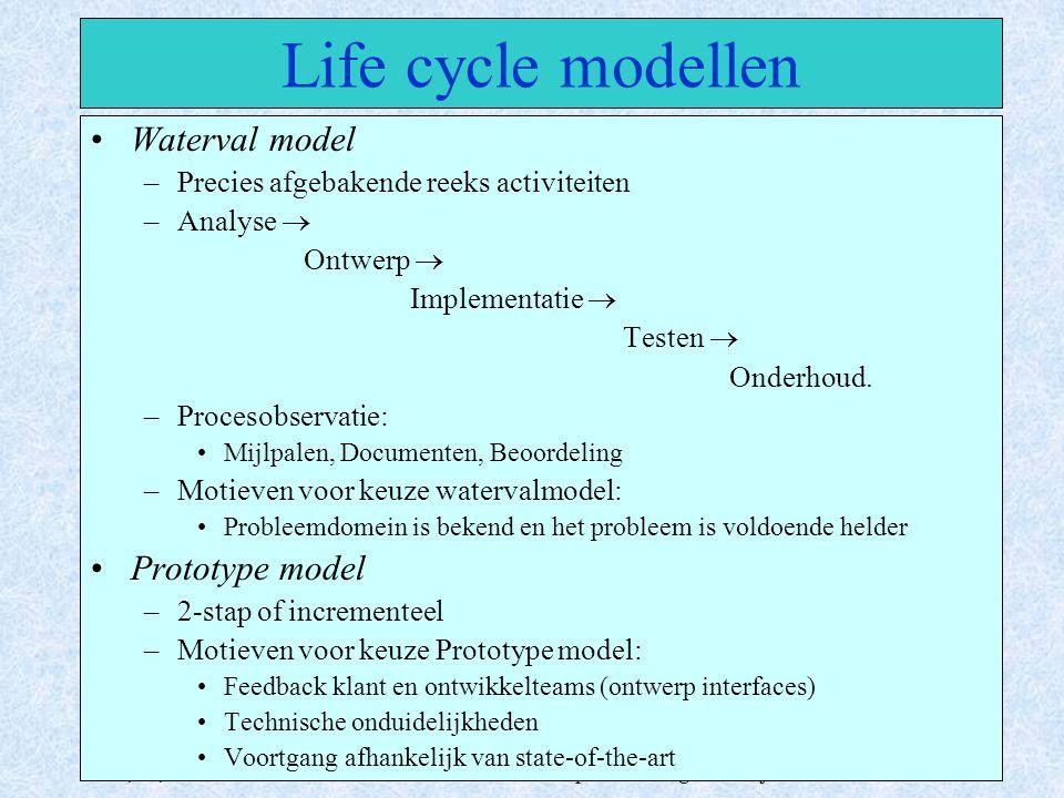 Juni, 17, 2003IP1 - Informatica Propedeuse Integratie Project10 Life cycle modellen Waterval model –Precies afgebakende reeks activiteiten –Analyse 