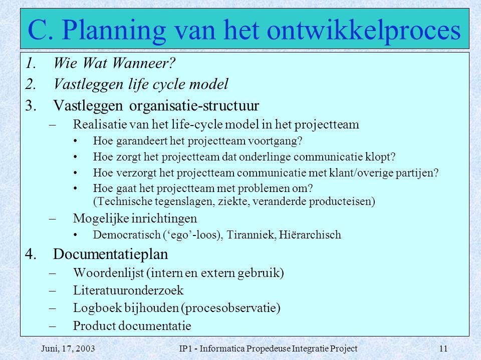 Juni, 17, 2003IP1 - Informatica Propedeuse Integratie Project11 C. Planning van het ontwikkelproces 1.Wie Wat Wanneer? 2.Vastleggen life cycle model 3