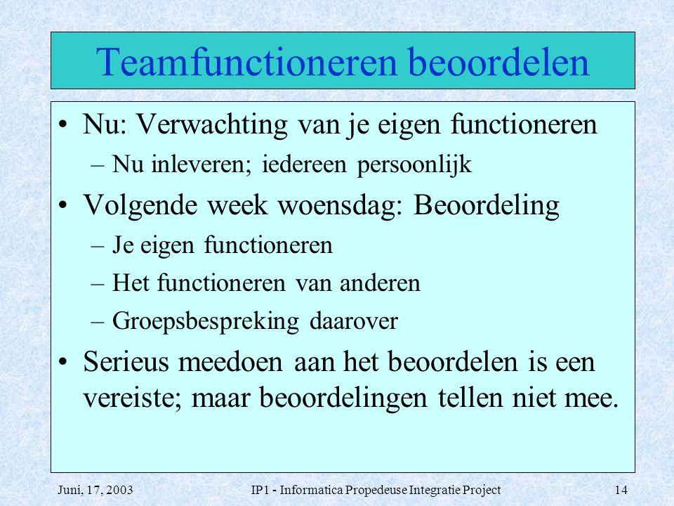Juni, 17, 2003IP1 - Informatica Propedeuse Integratie Project14 Teamfunctioneren beoordelen Nu: Verwachting van je eigen functioneren –Nu inleveren; i