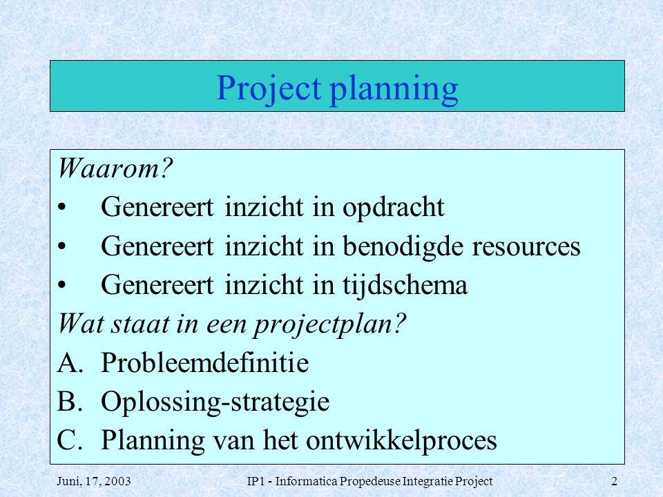 Juni, 17, 2003IP1 - Informatica Propedeuse Integratie Project2 Project planning Waarom? Genereert inzicht in opdracht Genereert inzicht in benodigde r