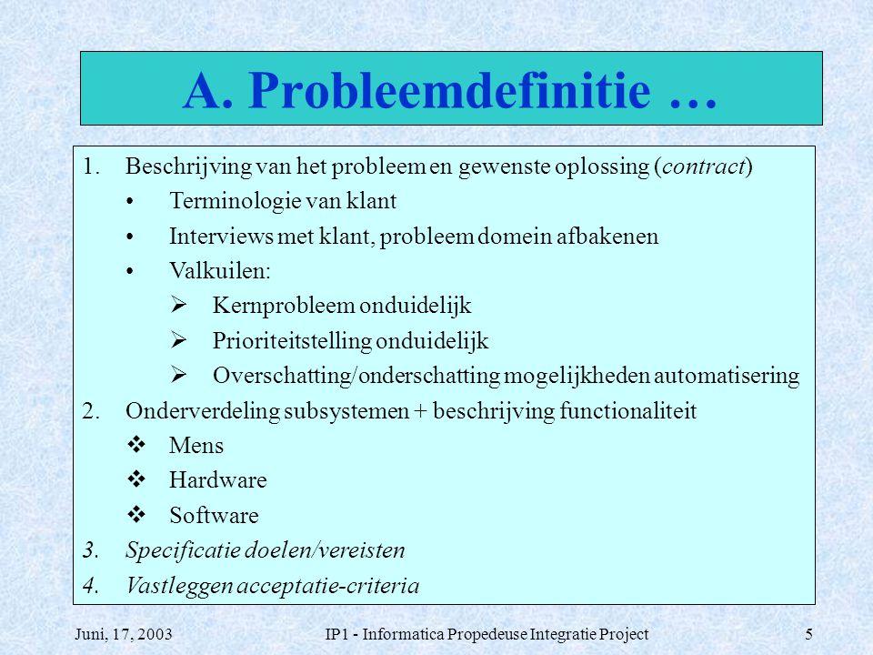 Juni, 17, 2003IP1 - Informatica Propedeuse Integratie Project6 1.Beschrijving van het probleem en gewenste oplossing (contract) 2.Onderverdeling subsystemen + beschrijving functionaliteit 3.Specificatie doelen/vereisten Doelen: wat dient precies bereikt te worden (product & proces).