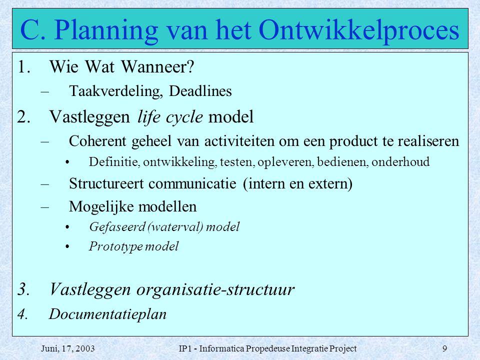 Juni, 17, 2003IP1 - Informatica Propedeuse Integratie Project9 C. Planning van het Ontwikkelproces 1.Wie Wat Wanneer? –Taakverdeling, Deadlines 2.Vast