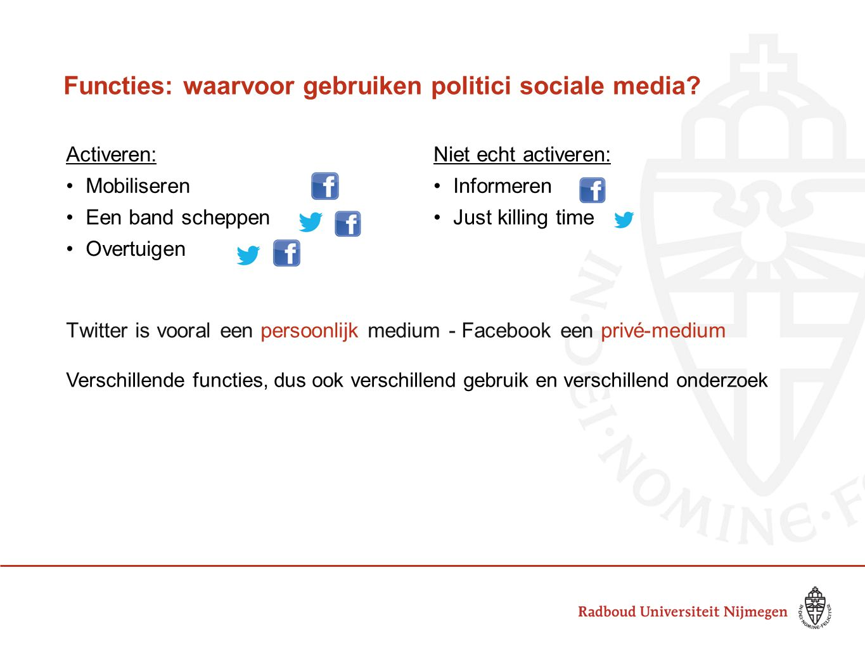 Functies: waarvoor gebruiken politici sociale media.