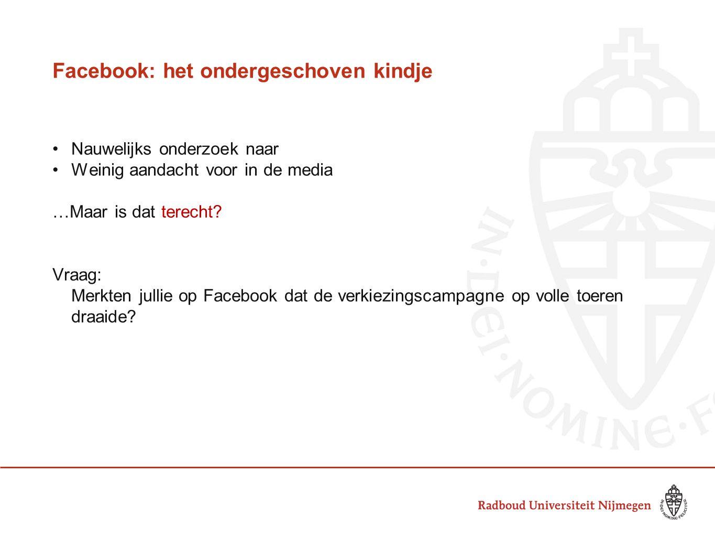Facebook: het ondergeschoven kindje Nauwelijks onderzoek naar Weinig aandacht voor in de media …Maar is dat terecht? Vraag: Merkten jullie op Facebook