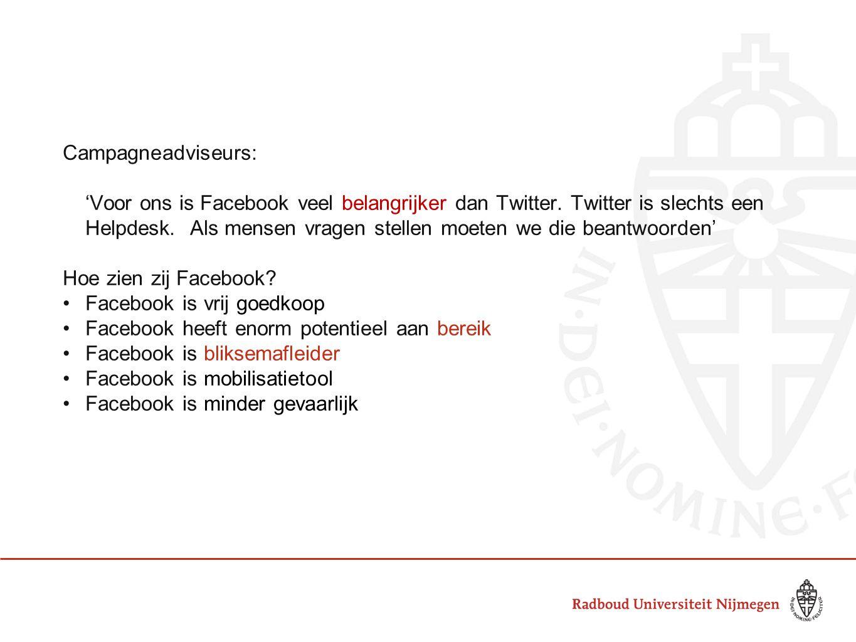 Campagneadviseurs: 'Voor ons is Facebook veel belangrijker dan Twitter.