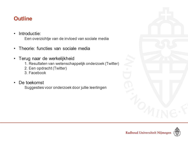 Outline Introductie: Een overzichtje van de invloed van sociale media Theorie: functies van sociale media Terug naar de werkelijkheid 1.