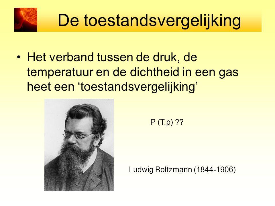 De toestandsvergelijking Het verband tussen de druk, de temperatuur en de dichtheid in een gas heet een 'toestandsvergelijking' Ludwig Boltzmann (1844