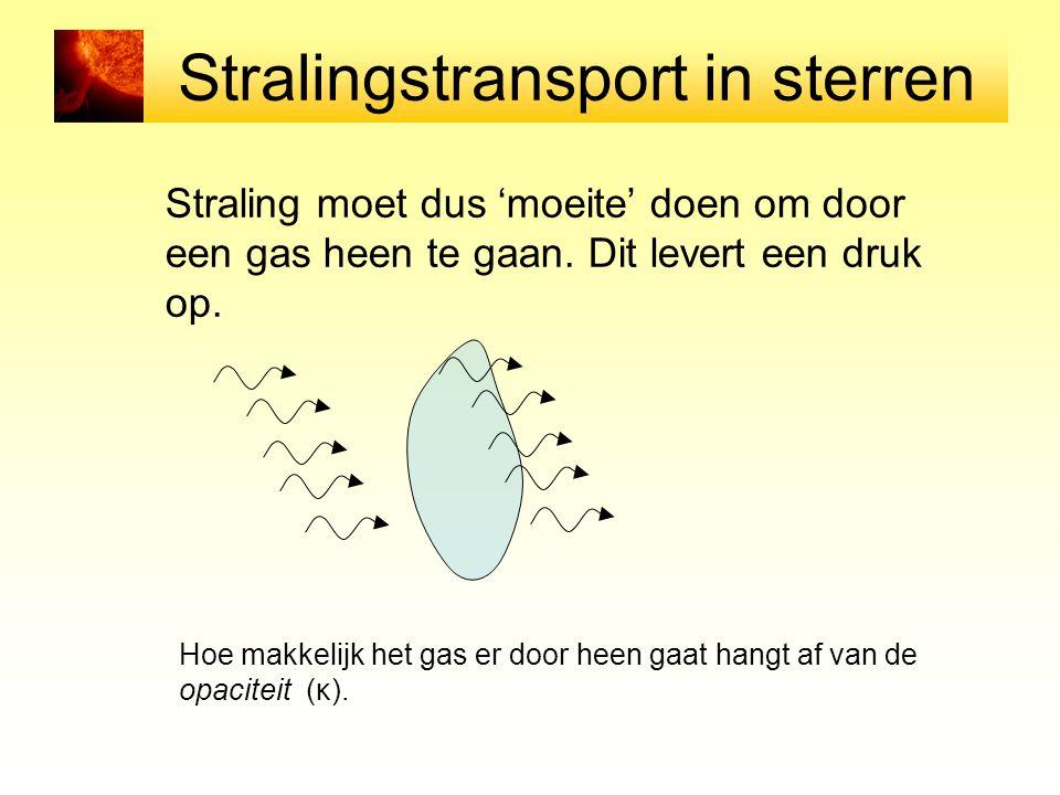 Stralingstransport in sterren Straling moet dus 'moeite' doen om door een gas heen te gaan. Dit levert een druk op. Hoe makkelijk het gas er door heen