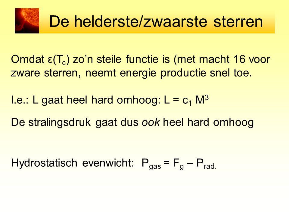 De helderste/zwaarste sterren Omdat ε(T c ) zo'n steile functie is (met macht 16 voor zware sterren, neemt energie productie snel toe. I.e.: L gaat he