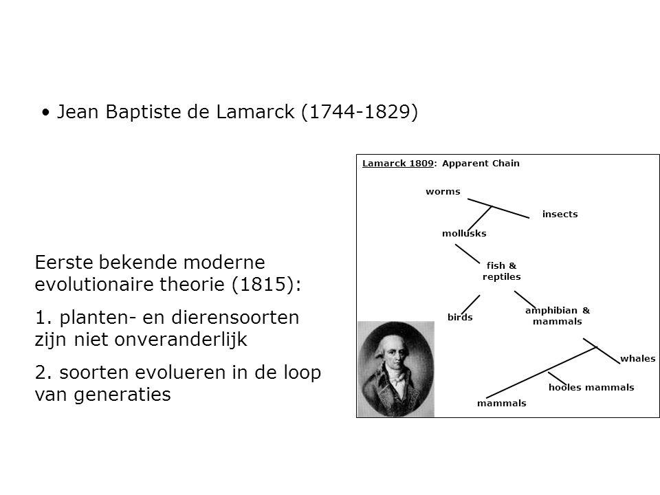 Eerste bekende moderne evolutionaire theorie (1815): 1. planten- en dierensoorten zijn niet onveranderlijk 2. soorten evolueren in de loop van generat