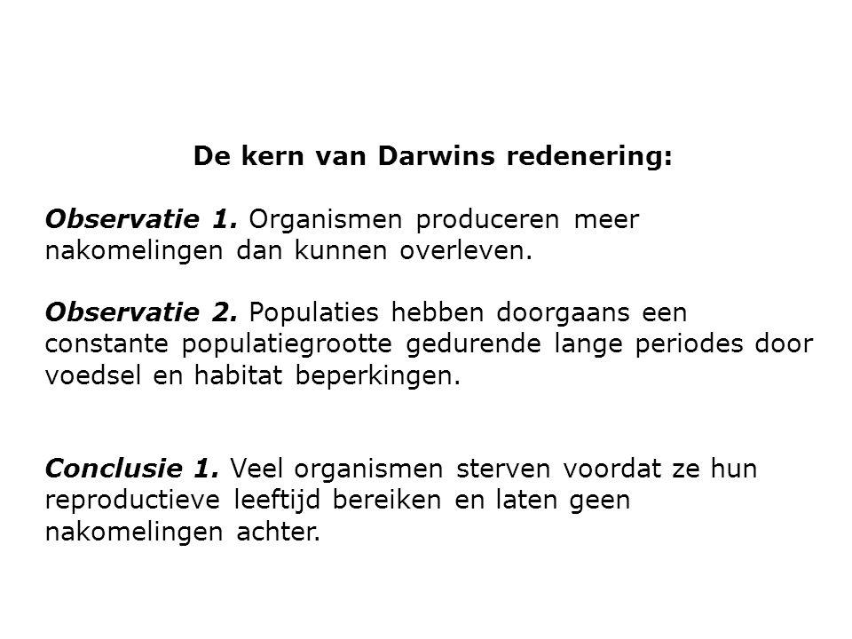 De kern van Darwins redenering: Observatie 1. Organismen produceren meer nakomelingen dan kunnen overleven. Observatie 2. Populaties hebben doorgaans