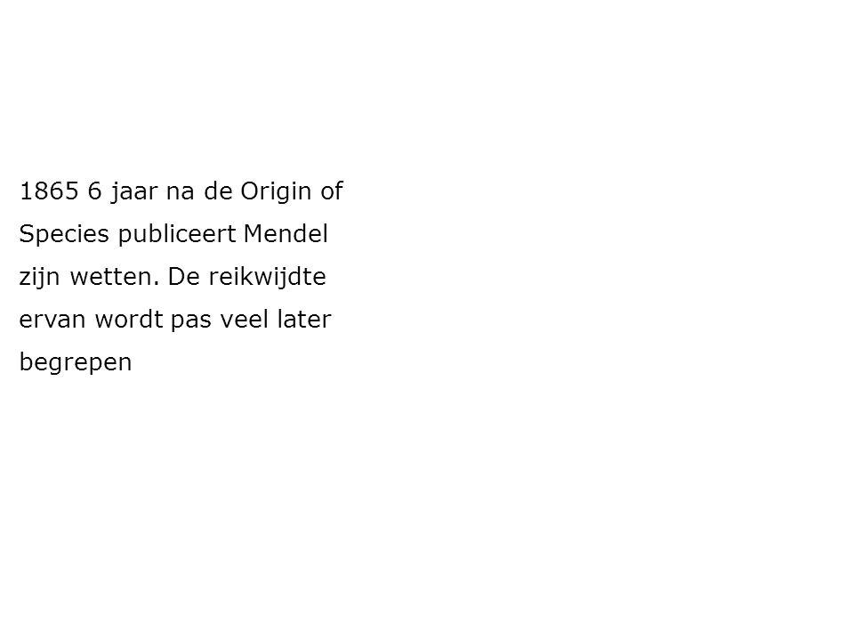 1865 6 jaar na de Origin of Species publiceert Mendel zijn wetten. De reikwijdte ervan wordt pas veel later begrepen