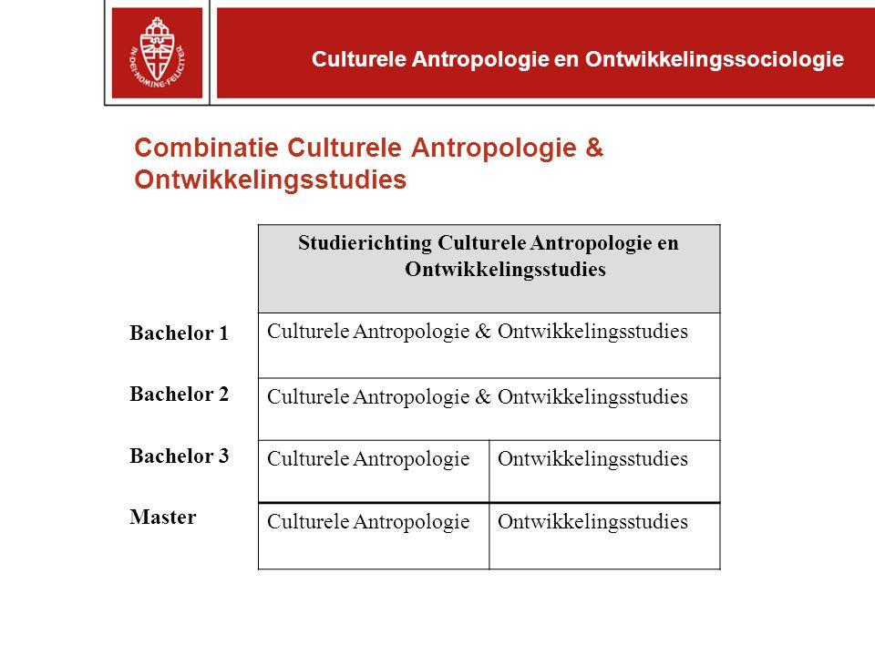 Combinatie Culturele Antropologie & Ontwikkelingsstudies Studierichting Culturele Antropologie en Ontwikkelingsstudies Culturele Antropologie & Ontwik
