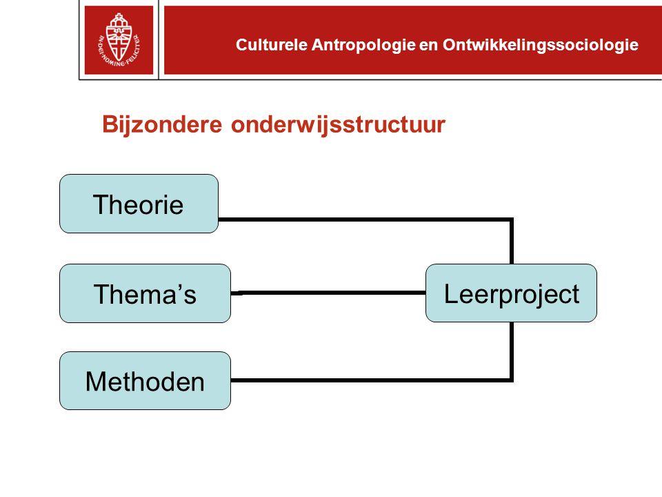 Bijzondere onderwijsstructuur Leerproject Theorie Thema's Methoden Culturele Antropologie en Ontwikkelingssociologie