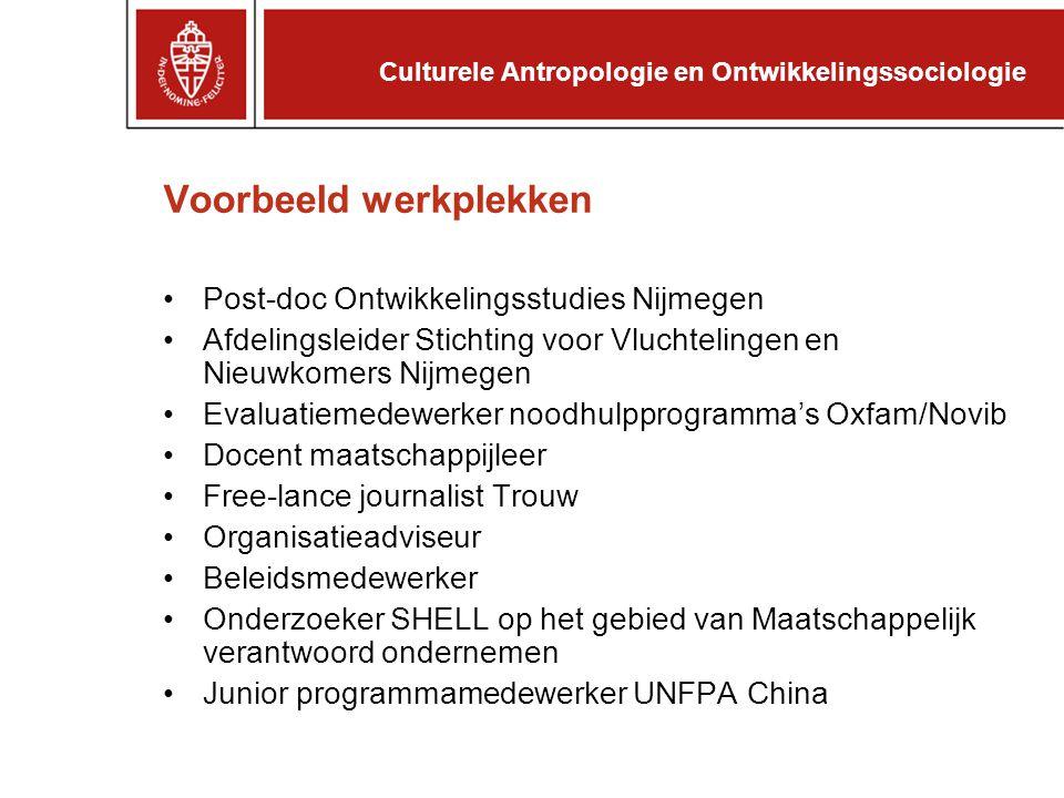 Voorbeeld werkplekken Post-doc Ontwikkelingsstudies Nijmegen Afdelingsleider Stichting voor Vluchtelingen en Nieuwkomers Nijmegen Evaluatiemedewerker