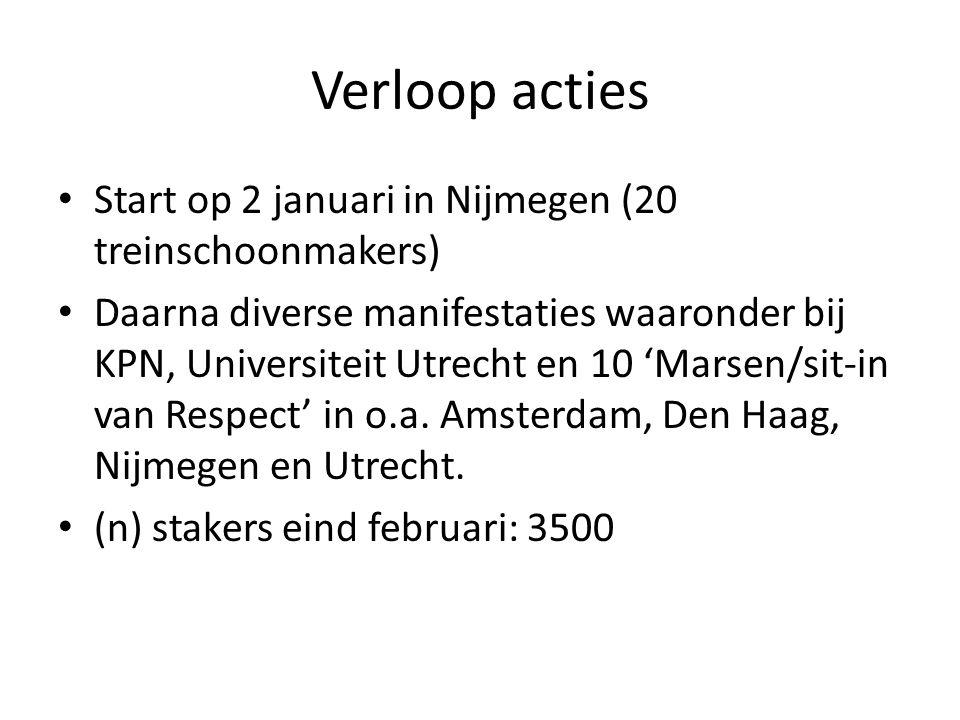 Verloop acties Start op 2 januari in Nijmegen (20 treinschoonmakers) Daarna diverse manifestaties waaronder bij KPN, Universiteit Utrecht en 10 'Marse