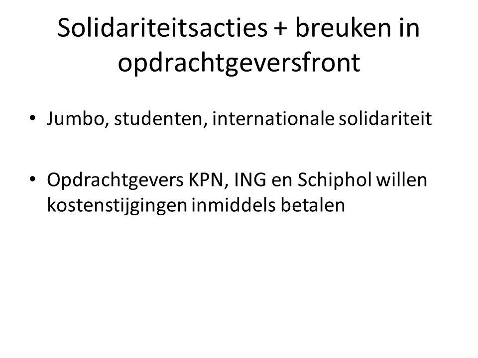 Solidariteitsacties + breuken in opdrachtgeversfront Jumbo, studenten, internationale solidariteit Opdrachtgevers KPN, ING en Schiphol willen kostenst