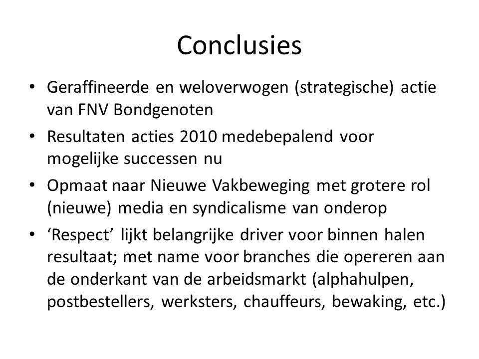 Conclusies Geraffineerde en weloverwogen (strategische) actie van FNV Bondgenoten Resultaten acties 2010 medebepalend voor mogelijke successen nu Opma