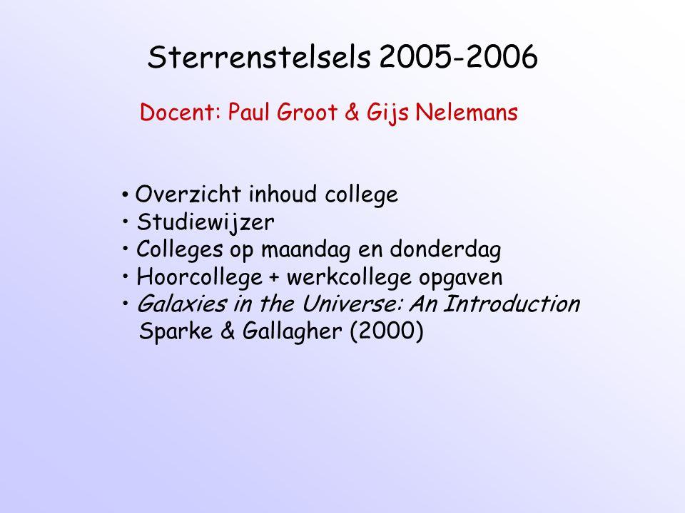 Sterrenstelsels 2005-2006 Docent: Paul Groot & Gijs Nelemans Overzicht inhoud college Studiewijzer Colleges op maandag en donderdag Hoorcollege + werk