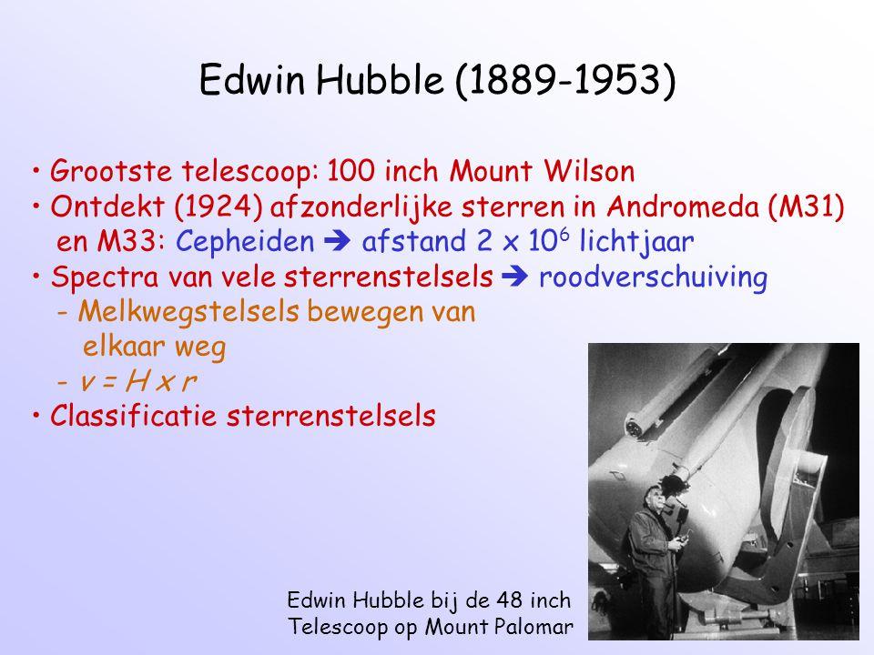 Edwin Hubble (1889-1953) Edwin Hubble bij de 48 inch Telescoop op Mount Palomar Grootste telescoop: 100 inch Mount Wilson Ontdekt (1924) afzonderlijke