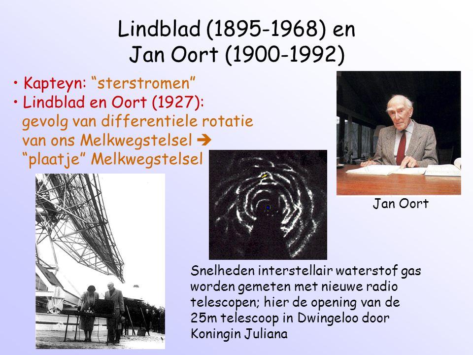 Lindblad (1895-1968) en Jan Oort (1900-1992) Jan Oort Kapteyn: sterstromen Lindblad en Oort (1927): gevolg van differentiele rotatie van ons Melkwegstelsel  plaatje Melkwegstelsel Snelheden interstellair waterstof gas worden gemeten met nieuwe radio telescopen; hier de opening van de 25m telescoop in Dwingeloo door Koningin Juliana