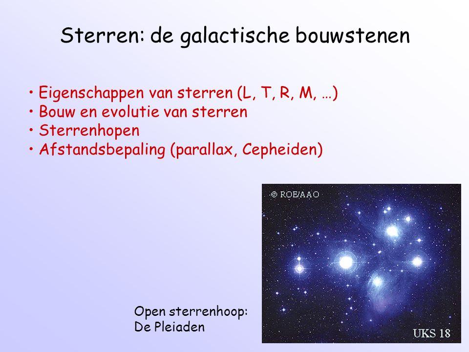 Sterren: de galactische bouwstenen Open sterrenhoop: De Pleiaden Eigenschappen van sterren (L, T, R, M, …) Bouw en evolutie van sterren Sterrenhopen Afstandsbepaling (parallax, Cepheiden)