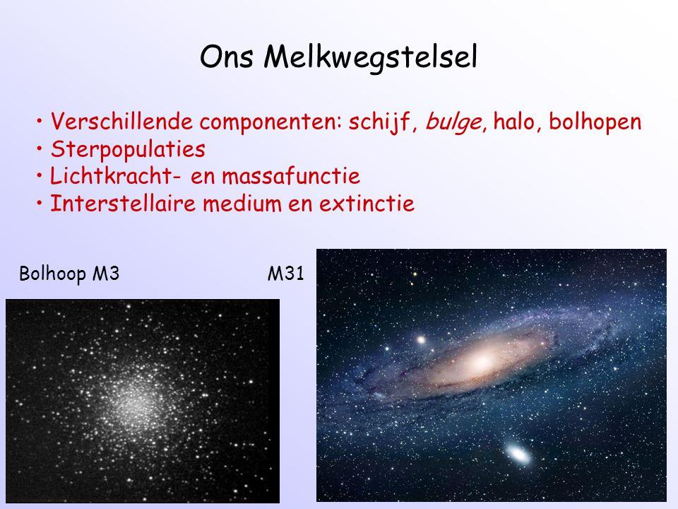 Ons Melkwegstelsel Bolhoop M3 M31 Verschillende componenten: schijf, bulge, halo, bolhopen Sterpopulaties Lichtkracht- en massafunctie Interstellaire medium en extinctie