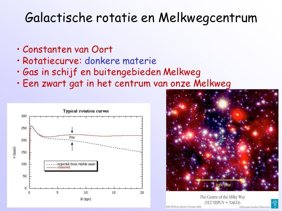 Galactische rotatie en Melkwegcentrum Constanten van Oort Rotatiecurve: donkere materie Gas in schijf en buitengebieden Melkweg Een zwart gat in het centrum van onze Melkweg