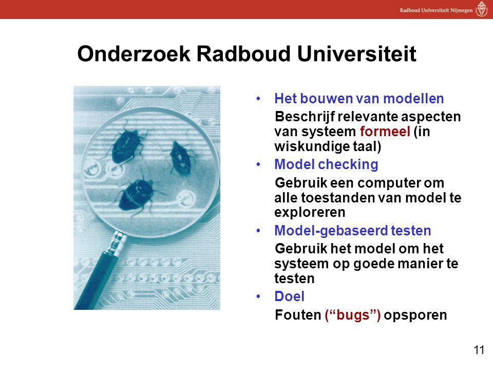 11 Onderzoek Radboud Universiteit Het bouwen van modellen Beschrijf relevante aspecten van systeem formeel (in wiskundige taal) Model checking Gebruik een computer om alle toestanden van model te exploreren Model-gebaseerd testen Gebruik het model om het systeem op goede manier te testen Doel Fouten ( bugs ) opsporen