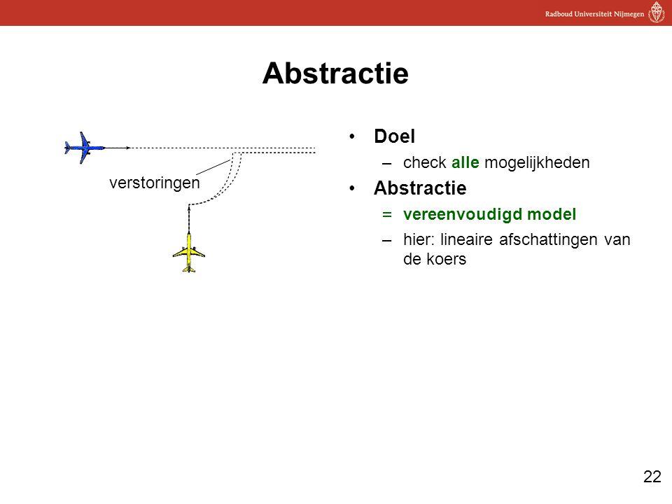 22 Abstractie Doel –check alle mogelijkheden Abstractie  vereenvoudigd model –hier: lineaire afschattingen van de koers verstoringen