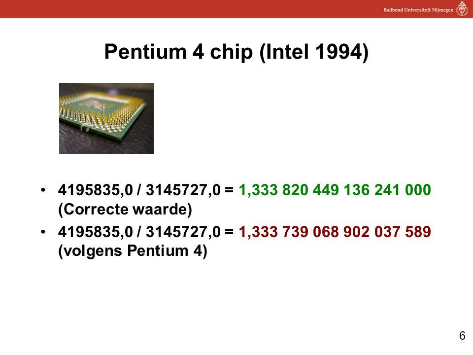 6 Pentium 4 chip (Intel 1994) 4195835,0 / 3145727,0 = 1,333 820 449 136 241 000 (Correcte waarde) 4195835,0 / 3145727,0 = 1,333 739 068 902 037 589 (volgens Pentium 4)